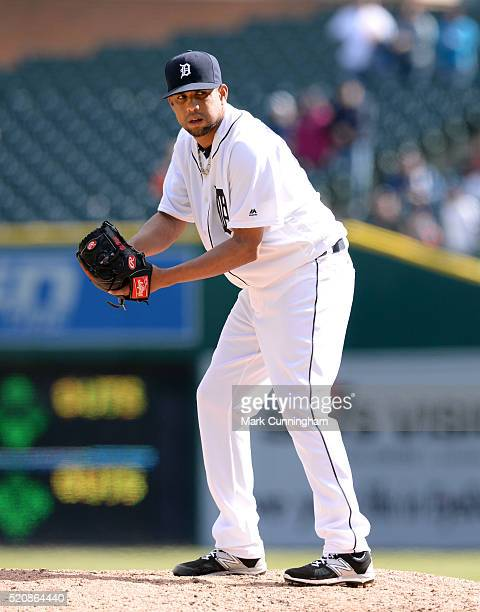 Francisco Rodriguez of the Detroit Tigers pitches during the game against the Pittsburgh Pirates at Comerica Park on April 12 2016 in Detroit...