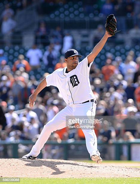 Francisco Rodriguez of the Detroit Tigers pitches during the game against the Minnesota Twins at Comerica Park on May 18 2016 in Detroit Michigan The...