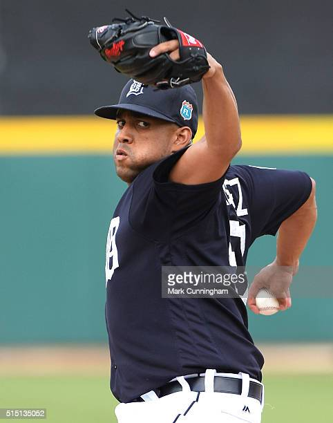 Francisco Rodriguez of the Detroit Tigers pitches during the Spring Training game against the Pittsburgh Pirates at Joker Marchant Stadium on March...