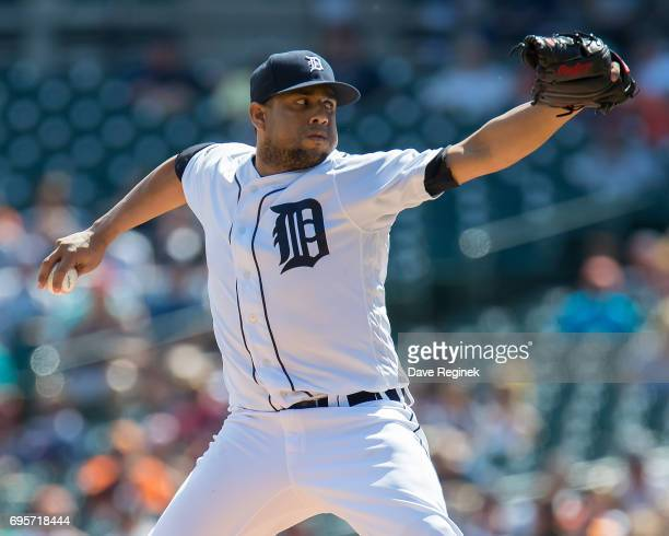 Francisco Rodriguez of the Detroit Tigers pitches in the eighth inning during a MLB game against the Los Angeles Angels of Anaheim at Comerica Park...
