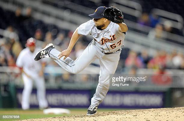 Francisco Rodriguez of the Detroit Tigers pitches in the ninth inning against the Washington Nationals at Nationals Park on May 10 2016 in Washington...