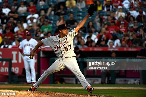 Francisco Rodriguez of the Detroit Tigers pitches in the ninth inning against the Los Angeles Angels of Anaheim at Angel Stadium of Anaheim on June 1...