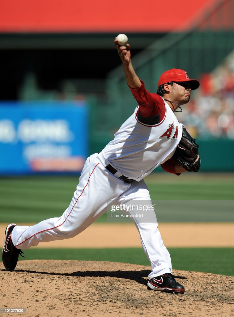 Francisco Rodriguez #45 of the Los Angeles Angels of Anaheim pitches against the Seattle Mariners at Angel Stadium of Anaheim on May 29, 2010 in Anaheim, California.