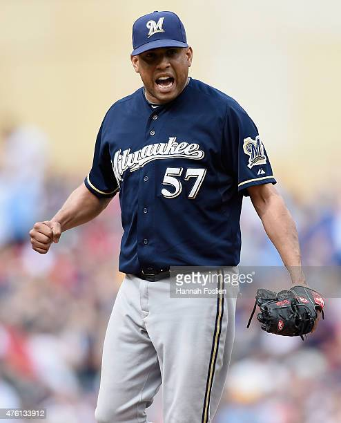 Francisco Rodriguez of the Milwaukee Brewers celebrates a win of the game against the Minnesota Twins on June 6 2015 at Target Field in Minneapolis...