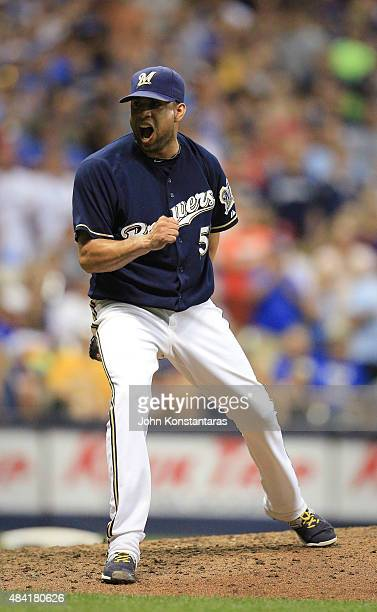 Francisco Rodriguez of the Milwaukee Brewers celebrates after striking out the last batter in the ninth inning of their game against the Philadelphia...