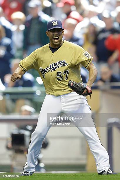 Francisco Rodriguez of the Milwaukee Brewers celebrates after the 42 win over the Cincinnati Reds at Miller Park on April 23 2015 in Milwaukee...
