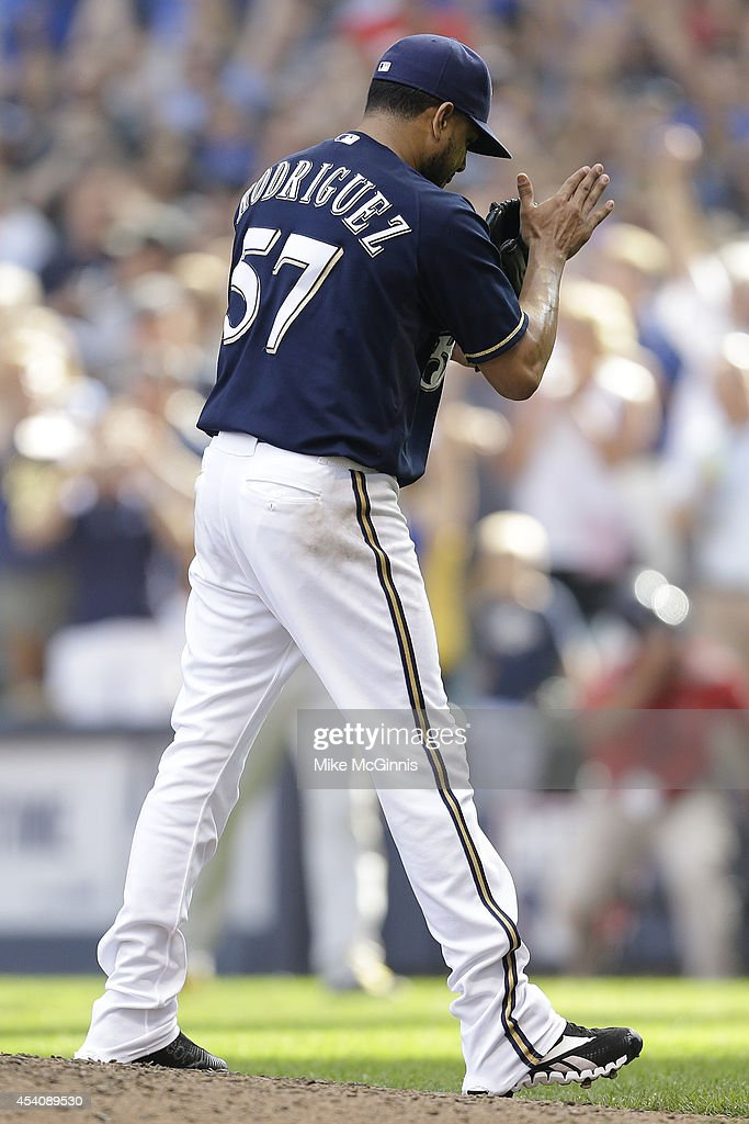 Francisco Rodriguez #57 of the Milwaukee Brewers celebrates after the 4-3 win over the Pittsburgh Pirates at Miller Park on August 24, 2014 in Milwaukee, Wisconsin.