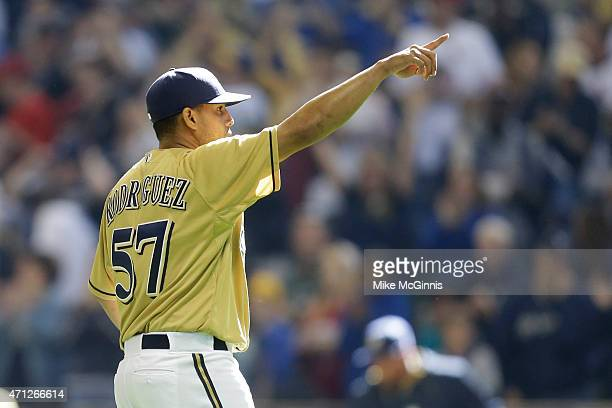 Francisco Rodriguez of the Milwaukee Brewers celebrates after the 63 win over the St Louis Cardinals at Miller Park on April 26 2015 in Milwaukee...