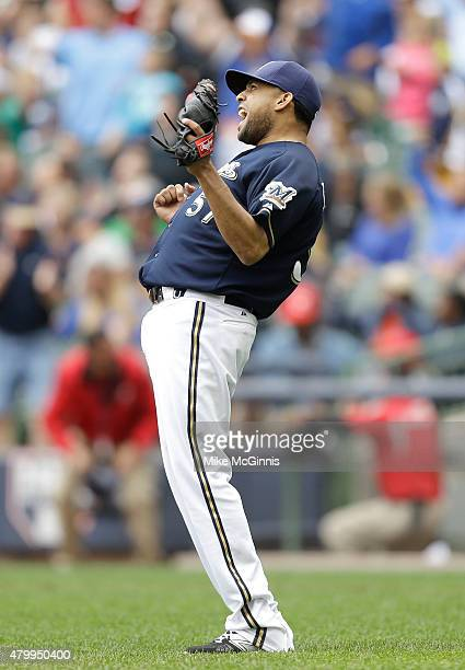 Francisco Rodriguez of the Milwaukee Brewers celebrates after the 65 win over against the Atlanta Braves at Miller Park on July 08 2015 in Milwaukee...
