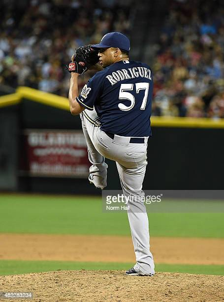 Francisco Rodriguez of the Milwaukee Brewers delivers a pitch against the Arizona Diamondbacks at Chase Field on July 24 2015 in Phoenix Arizona