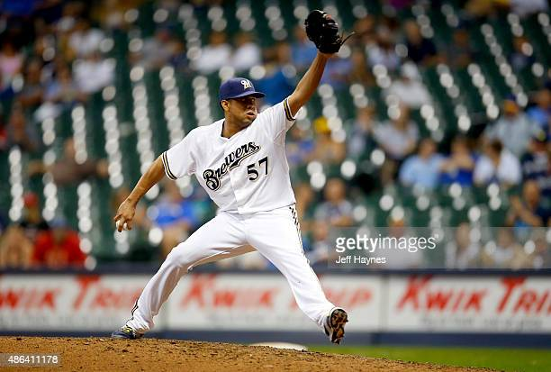 Francisco Rodriguez of the Milwaukee Brewers delivers a pitch in the ninth inning against the Pittsburgh Pirates at Miller Park on September 3 2015...