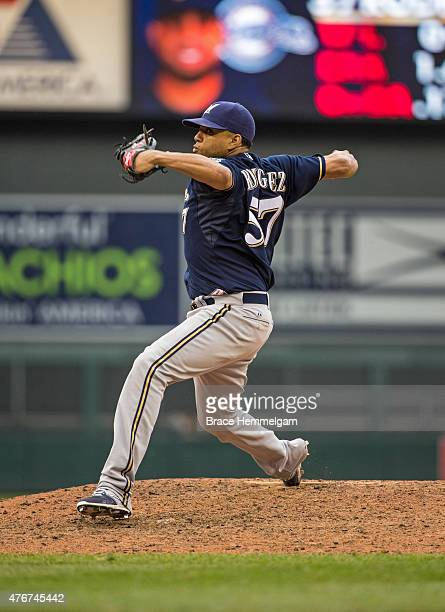 Francisco Rodriguez of the Milwaukee Brewers pitches against the Minnesota Twins on June 6 2015 at Target Field in Minneapolis Minnesota The Brewers...