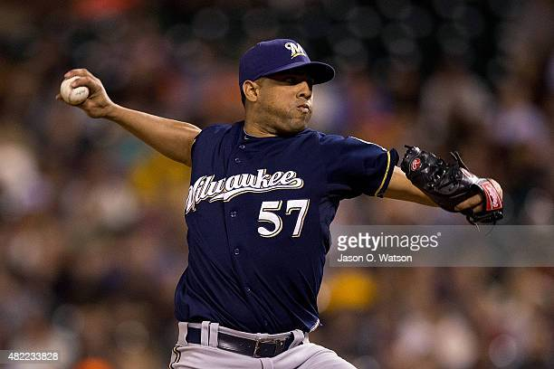 Francisco Rodriguez of the Milwaukee Brewers pitches against the San Francisco Giants during the ninth inning at ATT Park on July 28 2015 in San...