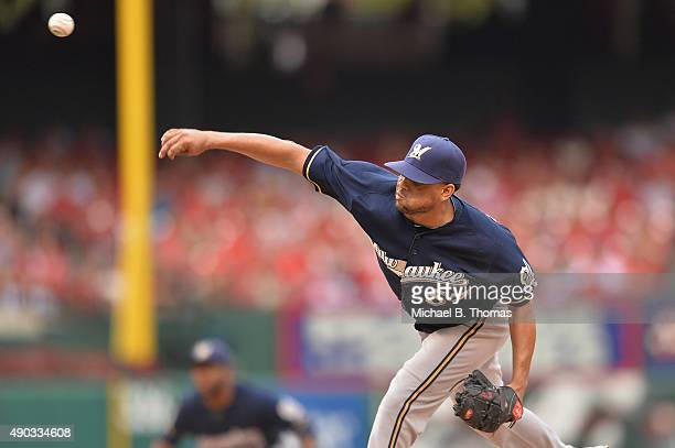 Francisco Rodriguez of the Milwaukee Brewers pitches against the St Louis Cardinals in the ninth inning at Busch Stadium on September 27 2015 in St...