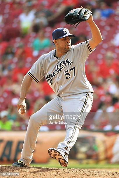 Francisco Rodriguez of the Milwaukee Brewers pitches in relief in the ninth inning against the Cincinnati Reds at Great American Ball Park on...