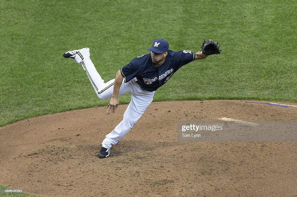 Francisco Rodriguez #57 of the Milwaukee Brewers pitches to an Arizona Diamondbacks batter at Miller Park on May 7, 2014 in Milwaukee, Wisconsin.