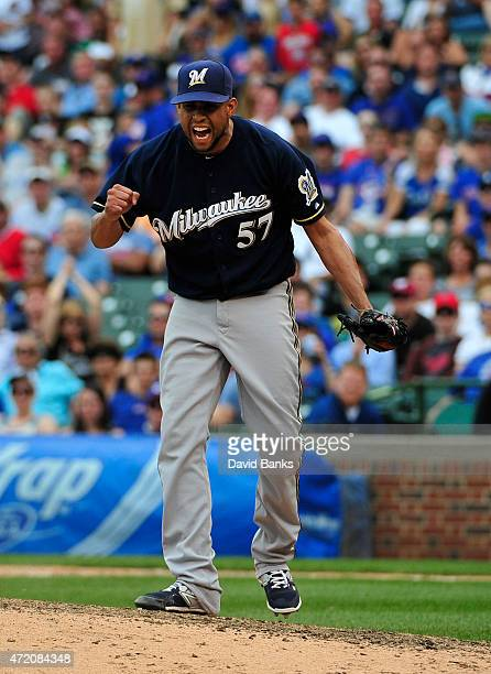 Francisco Rodriguez of the Milwaukee Brewers reacts after getting the last out during the ninth inning on May 3 2015 at Wrigley Field in Chicago...