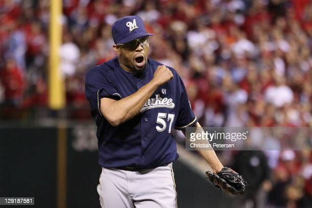 Francisco Rodriguez of the Milwaukee Brewers reacts after he struck out Yadier Molina of the St Louis Cardinals to end the bottom of the eighth...