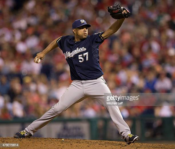 Francisco Rodriguez of the Milwaukee Brewers throws a pitch in the bottom of the eleventh inning against the Philadelphia Phillies on July 2 2015 at...
