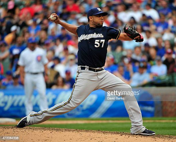 Francisco Rodriguez of the Milwaukee Brewers throws against the Chicago Cubs during the ninth inning on May 3 2015 at Wrigley Field in Chicago...