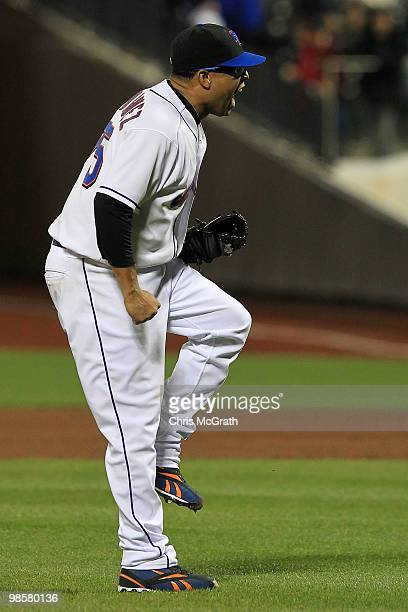 Francisco Rodriguez of the New York Mets celebrates victory against the Chicago Cubs on April 20 2010 at Citi Field in the Flushing neighborhood of...