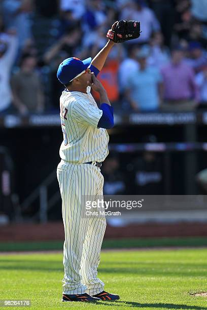 Francisco Rodriguez of the New York Mets celebrates victory over the Florida Marlins during their Opening Day game at Citi Field on April 5 2010 in...