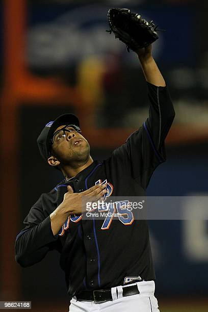 Francisco Rodriguez of the New York Mets celebrates victory over the Chicago Cubs on April 22 2010 at Citi Field in the Flushing neighborhood of the...