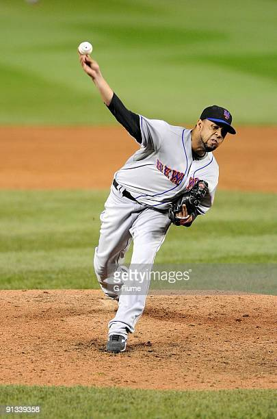 Francisco Rodriguez of the New York Mets pitches against the Washington Nationals at Nationals Park on September 30 2009 in Washington DC