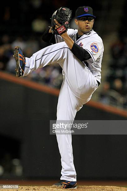 Francisco Rodriguez of the New York Mets pitches against the Chicago Cubs on April 20 2010 at Citi Field in the Flushing neighborhood of the Queens...