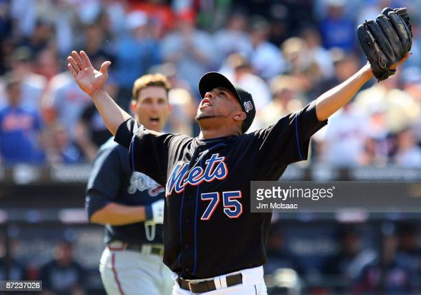 Francisco Rodriguez of the New York Mets reacts after striking out Jeff Francoeur of the Atlanta Braves for the final out of the ninth inning on May...