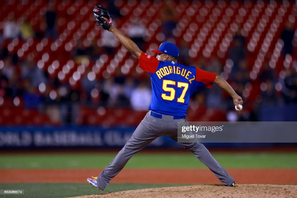 Francisco Rodriguez #57 of Venezuela pitches in the bottom of the ninth inning during the World Baseball Classic Pool D Game 7 between Venezuela and Italy at Panamericano Stadium on March 13, 2017 in Zapopan, Mexico.
