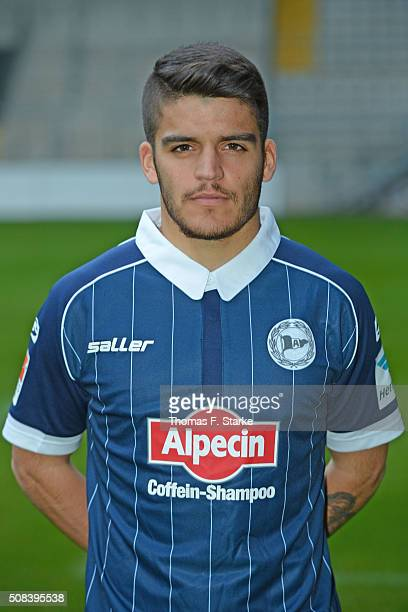 Francisco Rodriguez poses during the Second Bundesliga team presentation of Arminia Bielefeld at Schueco Arena on February 4 2016 in Bielefeld Germany