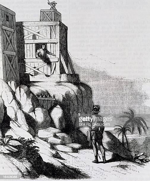 Francisco Roldan head of the Spanish rebels speaking with Adelantado Bartholomew Columbus on the island of Hispaniola engraving from The life and...
