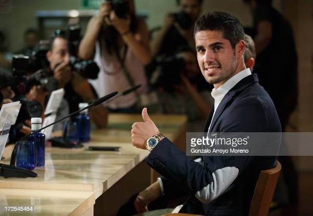 Francisco Roman Alarcon alias Isco during the press conference for his presentation as a new Real Madrid player at Estadio Bernabeu on July 3 2013 in...