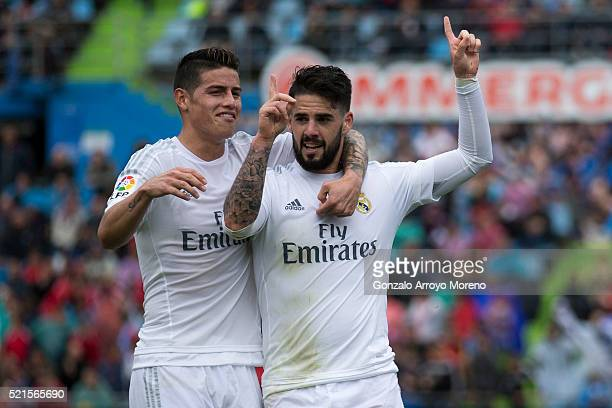 Francisco Roman Alarcon alias Isco of Real Madrid CF celebrates scoring their second goal with teammate James Rodriguez during the La Liga match...