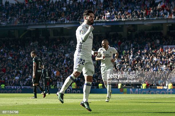 Francisco Roman Alarcon alias Isco of Real Madrid CF celebrates scoring their opening goal during the La Liga match between Real Madrid CF and...