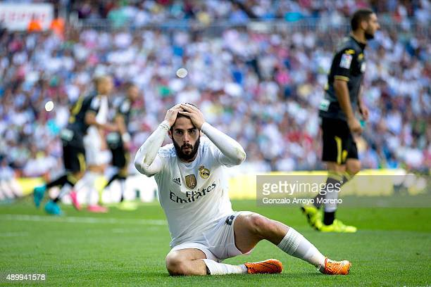 Francisco Roman Alarcon alias Isco of Real Madrid CF reacts during the La Liga match between Real Madrid CF and Granada CF at Estadio Santiago...