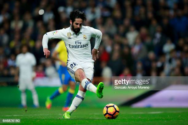 Francisco Roman Alarcon alias Isco of Real Madrid CF scores their opening goal during the La Liga match between Real Madrid CF and UD Las Palmas at...