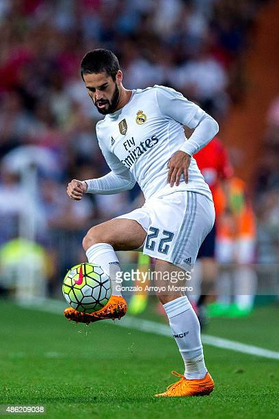 Francisco Roman Alarcon alias Isco of Real Madrid CF strikes the ball during the La Liga match between Real Madrid CF and Real Betis Balompie at...