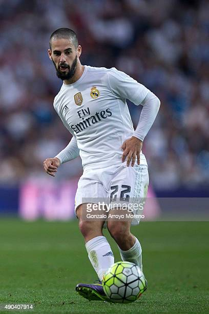 Francisco Roman Alarcon alias Isco of Real Madrid CF strikes the ball during the La Liga match between Real Madrid CF and Malaga CF at Estadio...
