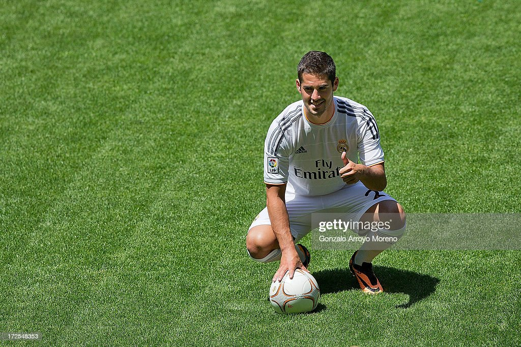 Francisco Roman Alarcon alias Isco plays with the ball during his presentation as a new Real madrid player at Estadio Bernabeu on July 3, 2013 in Madrid, Spain.