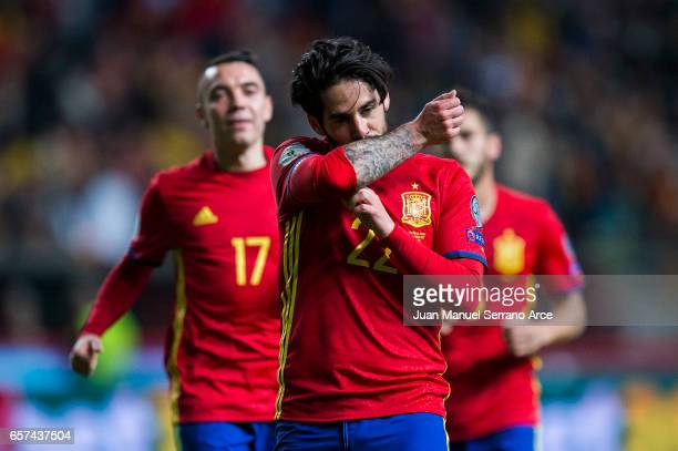Francisco Roman 'Isco' of Spain celebrates after scoring his team's fourth goal during the FIFA 2018 World Cup Qualifier between Spain and Israel at...