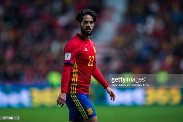 Francisco Roman 'Isco' of Spain reacts during the FIFA 2018 World Cup Qualifier between Spain and Israel at Estadio El Molinon on March 24 2017 in...
