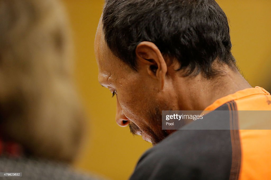 Francisco Sanchez enters court for an arraignment on July 7, 2015 in San Francisco, California. Francisco Sanchez pleaded not guilty to charges that he shot and killed 32 year-old Kathryn Steinle as she walked on Pier 14 in San Francisco with her father last week.