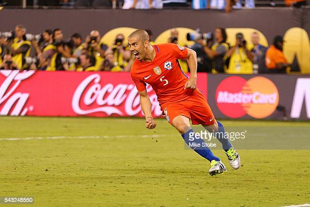 Francisco Silva of Chile celebrates after scoring the game winning penalty kick to defeat Argentina to win the Copa America Centenario Championship...