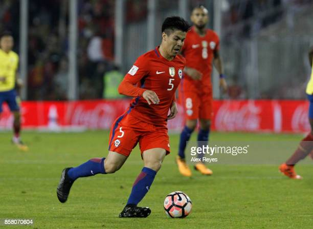 Francisco Silva of Chile controls the ball during a match between Chile and Paraguay as part of FIFA 2018 World Cup Qualifiers at Monumental Stadium...