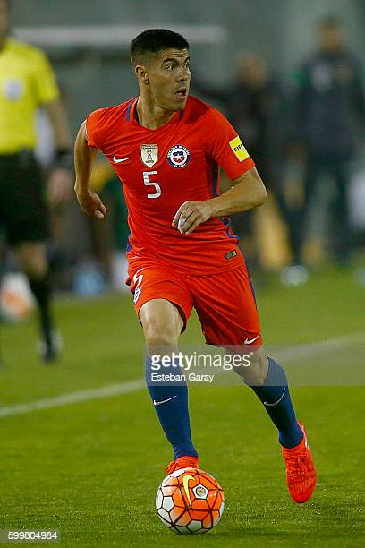 Francisco Silva of Chile drives the ball during a match between Chile and Bolivia as part of FIFA 2018 World Cup Qualifiers at Monumental Stadium on...