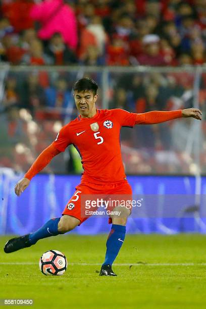 Francisco Silva of Chile drives the ball during a match between Chile and Ecuador as part of FIFA 2018 World Cup Qualifiers at Monumental Stadium on...