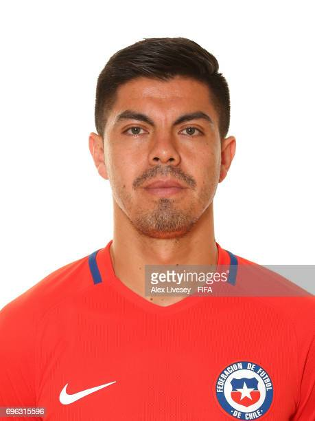 Francisco Silva of Chile during a portrait session ahead of the FIFA Confederations Cup Russia 2017 at the Crowne Plaza Hotel on June 15 2017 in...