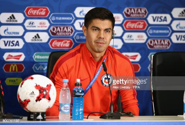 Francisco Silva of Chile faces the media during a press conference at the Spartak Stadium during the FIFA Confederations Cup Russia 2017 on June 24...